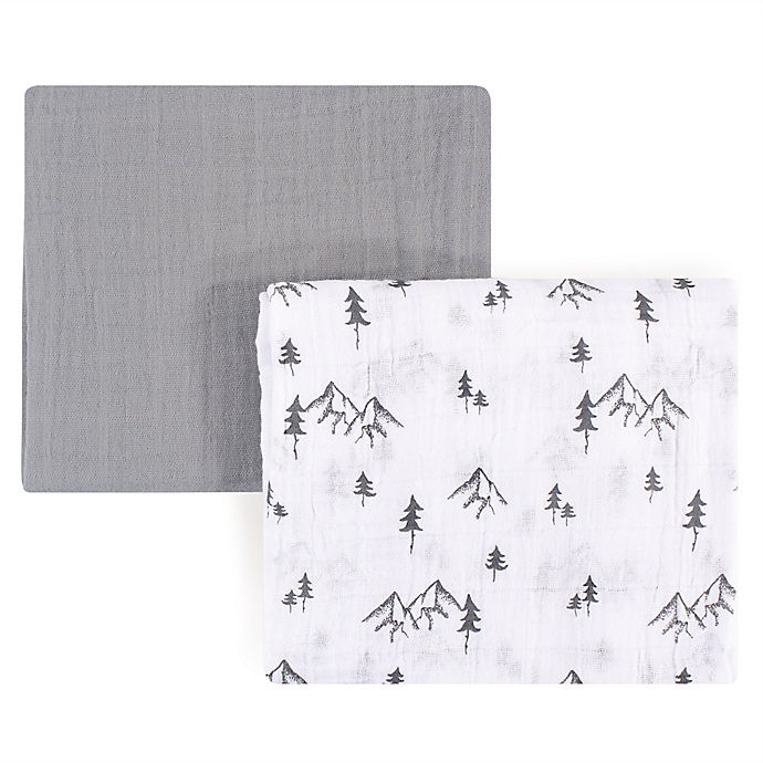 Alternate image 1 for Yoga Sprout Mountain 2-Pack Muslin Swaddle Blanket Set in Grey