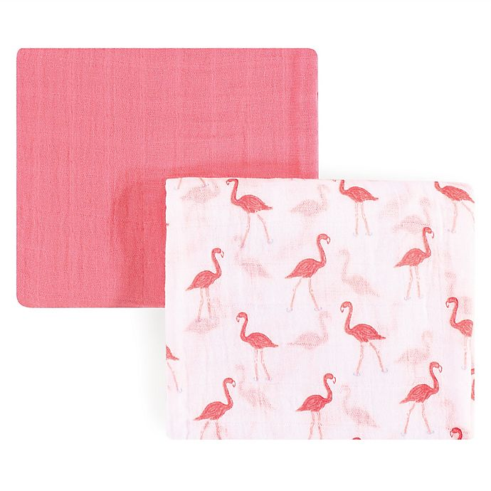 Alternate image 1 for Yoga Sprout Flamingo 2-Pack Muslin Swaddle Blanket Set in Pink