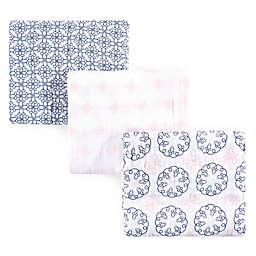 Yoga Sprout Whimsical 3-Pack Muslin Swaddle Blanket Set in Blue