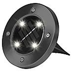 Bell + Howell Solar-Powered LED Disk Lights in Gunmetal (Set of 4)