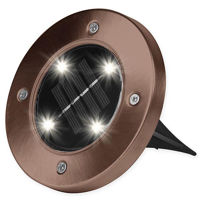 Alternate image 1 for Bell + Howell Solar-Powered LED Disk Lights in Bronze (Set of 4)
