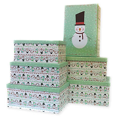 6-Piece Snowman Jumbo Rectangular Gift Box Set in White/Green