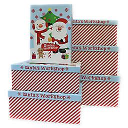 6-Piece Santa Claus and Polar Bear Jumbo Rectangular Gift Box Set in Red