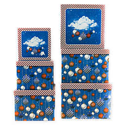 6-Piece Holiday Jumbo Square Gift Box Set in Blue