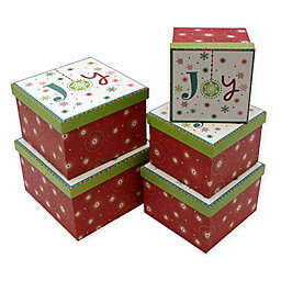 5-Piece Joy Square Gift Box Set in Red