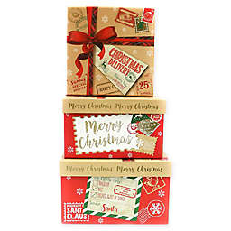3-Piece Merry Christmas Package Square Gift Box Set in Red