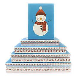 5-Piece Snowman Flat Gift Box Set in Blue