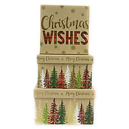 3-Piece Christmas Wishes Package Square Gift Box Set in Natural