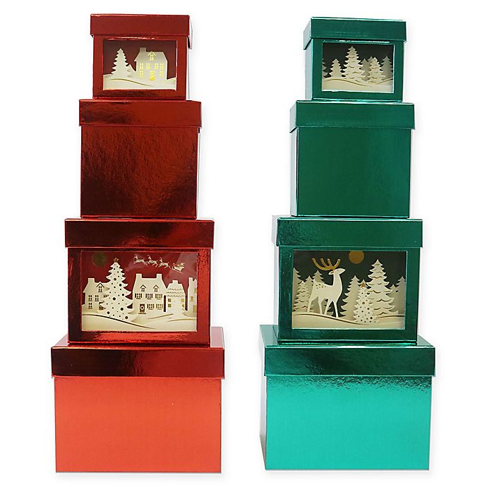 Alternate image 1 for 4-Piece 3D Metallic Gift Box Set in Red/Green