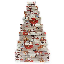 8-Piece Santa and Snowman Square Gift Box Set in Silver