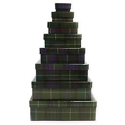 8-Piece Tartan Square Gift Box Set in Green