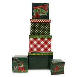 6-Piece Christmas Floral Square Gift Box Set in Green