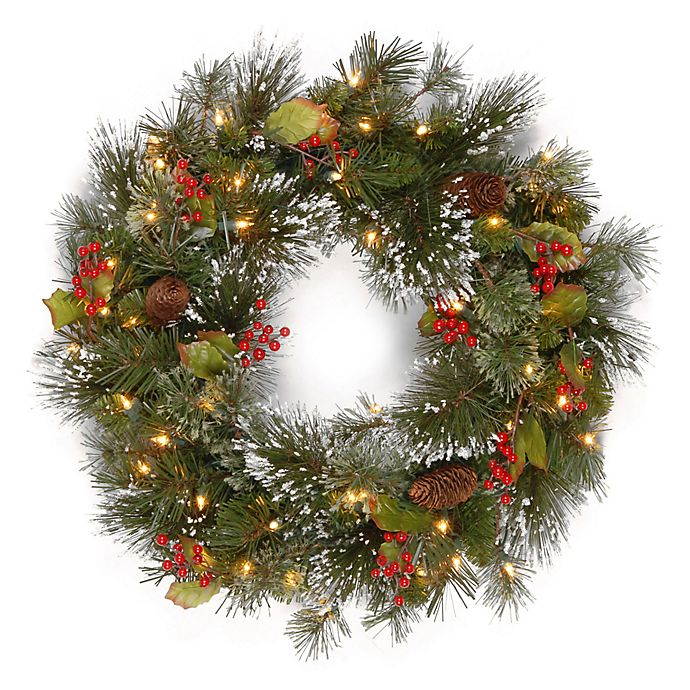 Alternate image 1 for National Tree Company® 24-Inch Pre-Lit Wintry Pine Artificial Christmas Wreath