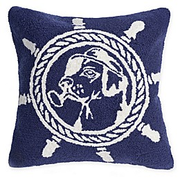 Liora Manne Seadog Marine Hand Hooked Square Throw Pillow in Navy