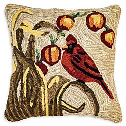 Liora Manne Bird Square Throw Pillow in Natural/Red