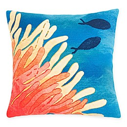Liora Manne Coral Reef & Fish Square Throw Pillow in Orange/Blue