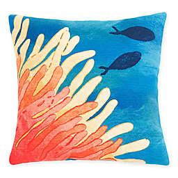 Liora Manne Coral Reef & Fish Square Throw Pillow in Orange/Blue