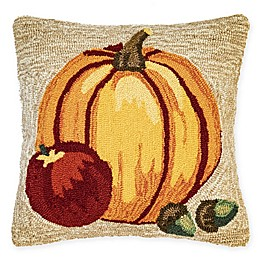 Liora Manne Harvest Pumpkin Square Throw Pillow in Natural/Orange