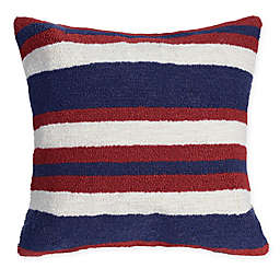 Liora Manne American Nautical Stripe Square Throw Pillow in Red/Blue