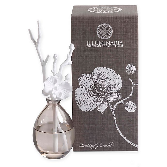 Zodax Illuminaria Butterfly Orchid Porcelain Diffuser In White Bed