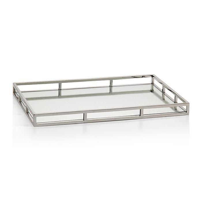 Zodax Venturi Rectangular Mirrored Tray In Silver Bed Bath