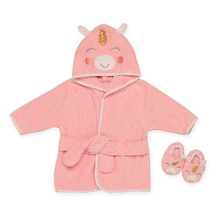 Alternate image 1 for Baby Starters® One-Size 2-Piece Unicorn Bathrobe and Slipper Set in Pink
