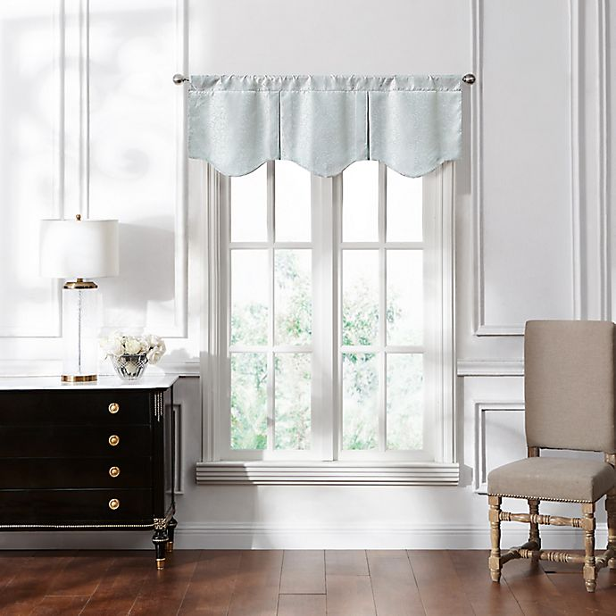 Alternate image 1 for Waterford® Lucida Lace Scalloped Window Valance in Spa