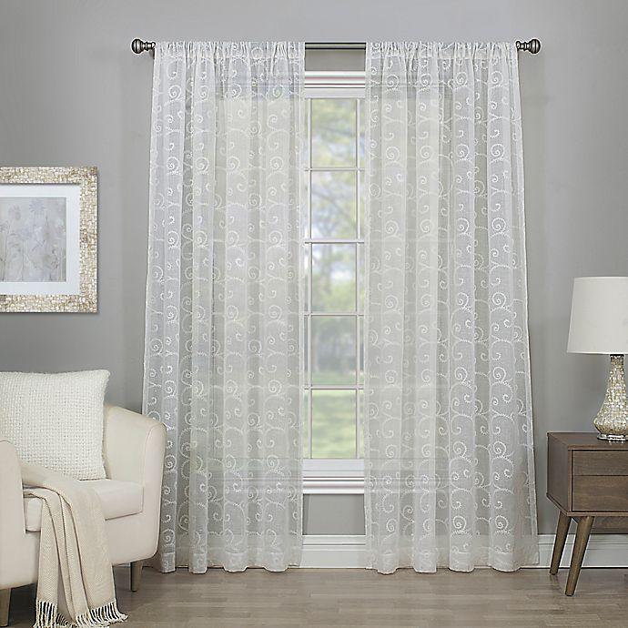 Alternate image 1 for Cascade 63-Inch Rod Pocket Semi-Sheer Window Curtain Panel in Winter White