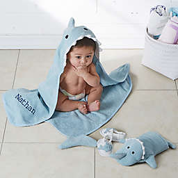 Let The Fin Begin Embroidered Baby Bath Set