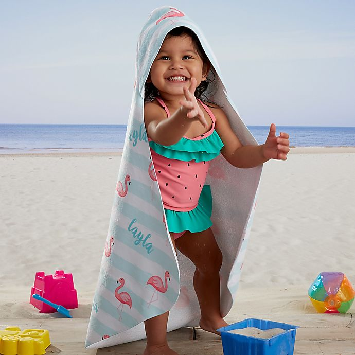 Alternate image 1 for Flamingo Personalized Hooded Beach & Pool Towel