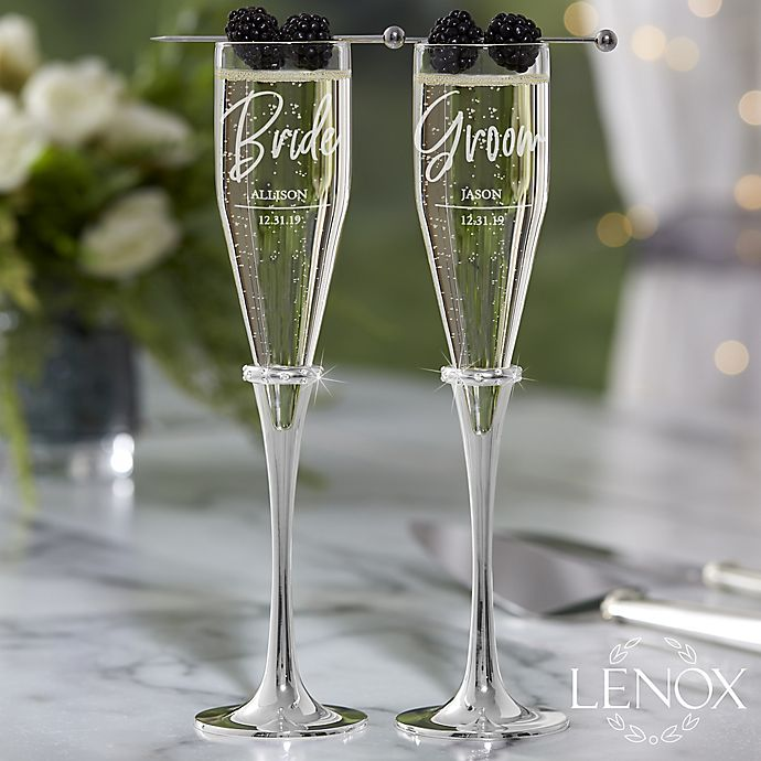 Wedding Gift Champagne Flutes: Lenox ® Devotion Engraved Wedding Personalized Champagne