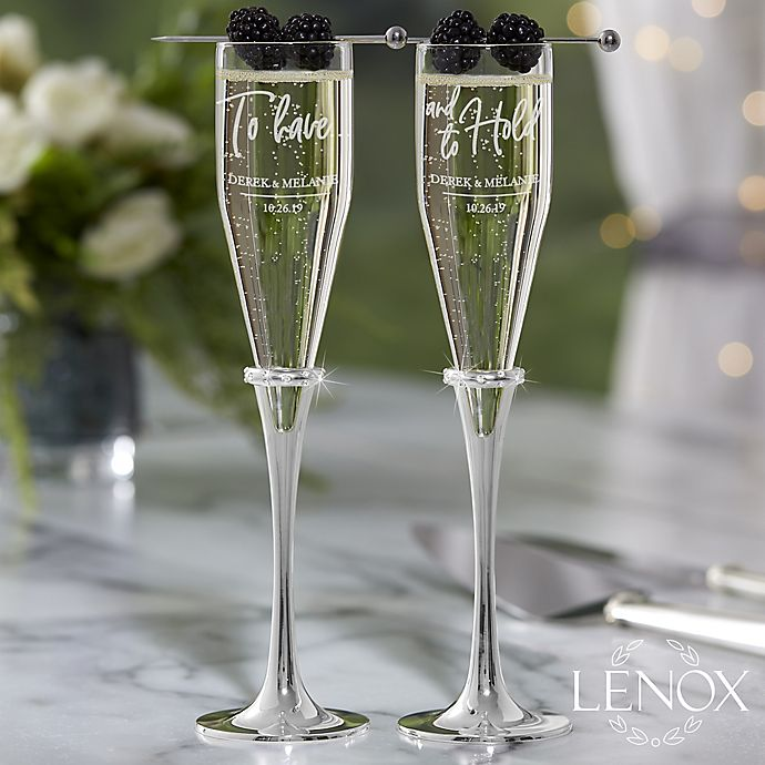 Alternate image 1 for Lenox ® Devotion To Have & To Hold Engraved Personalized Champagne Flutes (Set of 2)