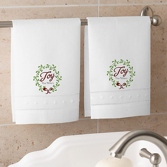 Alternate image 1 for Spirit Of The Season Personalized Guest Towel Set