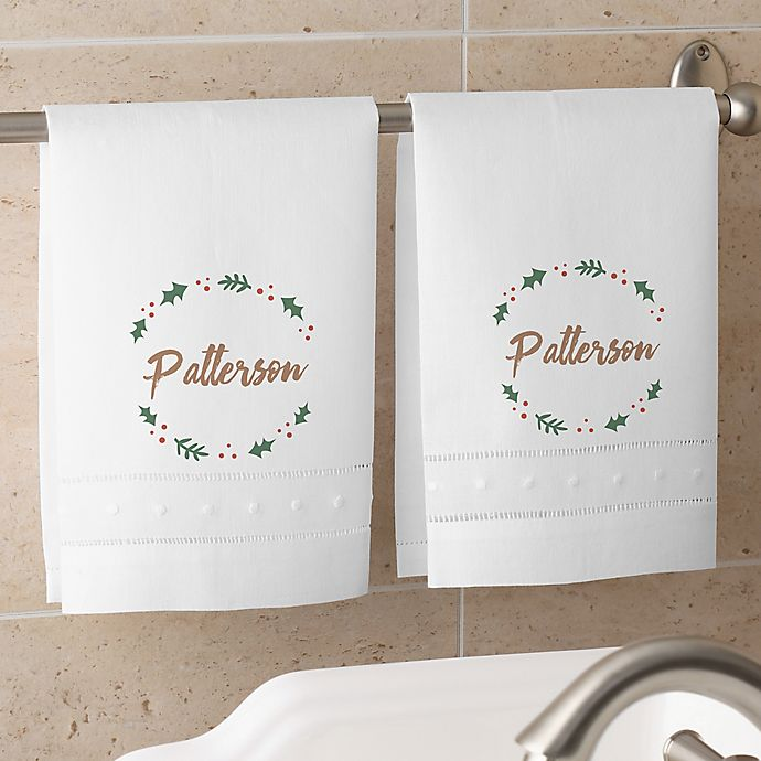 Alternate image 1 for Cozy Christmas Personalized Guest Towel Set