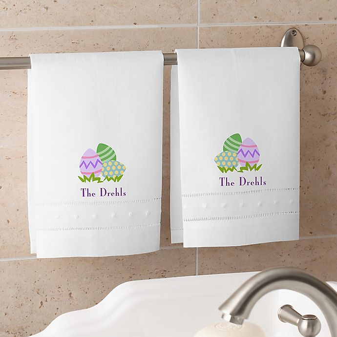 Alternate image 1 for Easter Egg Personalized Guest Towel Set