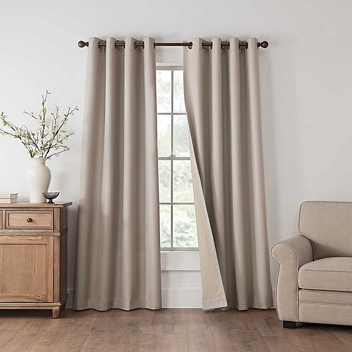 Alternate image 1 for Draftblocker Easton 108-Inch Grommet Room Darkening Window Curtain Panel in Linen