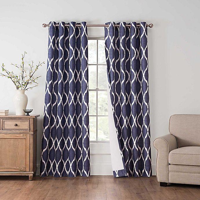 Alternate image 1 for Draftblocker Easton Printed 108-Inch Grommet Room Darkening Window Curtain Panel in Blue