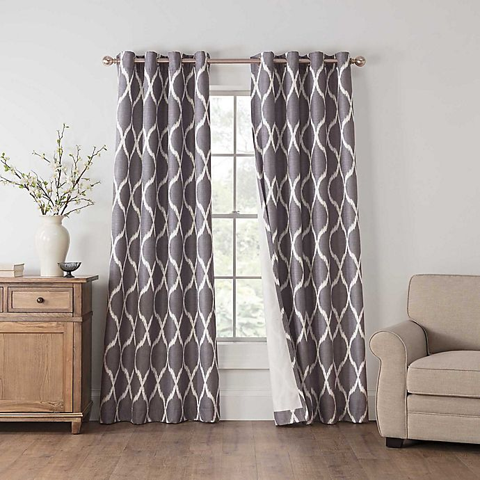Alternate image 1 for Draftblocker Easton Printed 63-Inch Grommet Room Darkening Window Curtain Panel in Grey