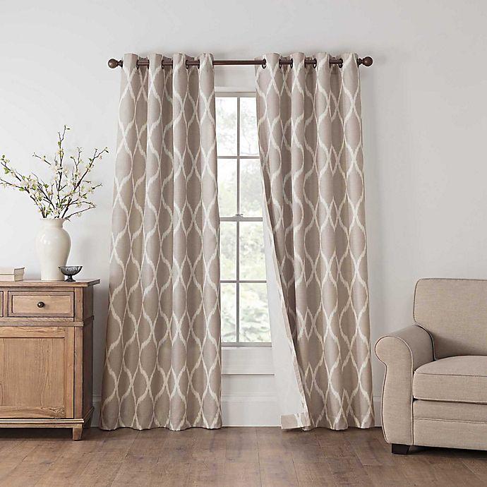 Alternate image 1 for Draftblocker Easton Printed 108-Inch Grommet Room Darkening Window Curtain Panel in Linen