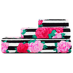 Betsey Johnson® Flower Stripe 3 Piece Bath Towel Set