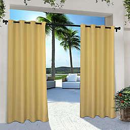 Solid Indoor/Outdoor 96-Inch Grommet Window Curtain Panels in Yellow (Set of 2)