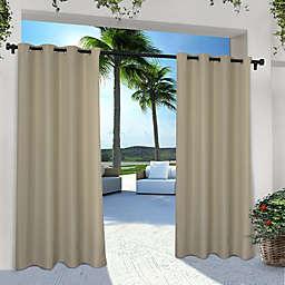 Solid Indoor/Outdoor 108-Inch Grommet Window Curtain Panels in Taupe (Set of 2)