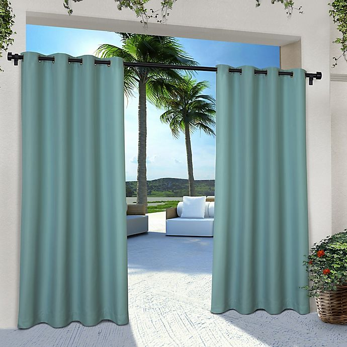 Alternate image 1 for Solid Indoor/Outdoor 84-Inch Grommet 2-Pack Window Curtain Panels in Teal