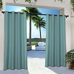 Solid Indoor/Outdoor 84-Inch Grommet 2-Pack Window Curtain Panels in Teal