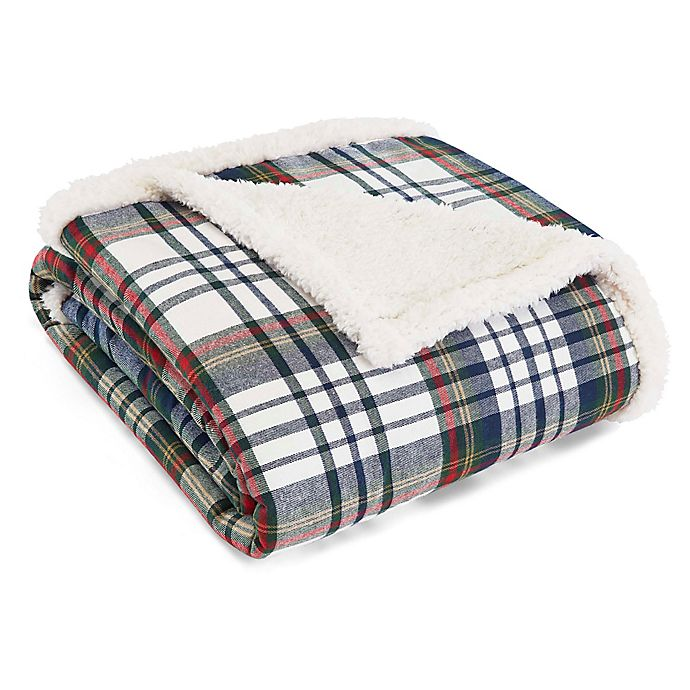 Alternate image 1 for Eddie Bauer® Anderson Plaid Cadet Blue Sherpa Throw