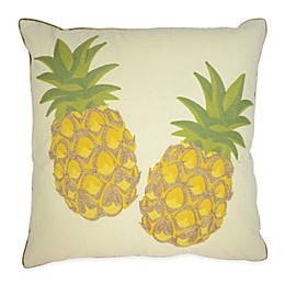 Embroidered Pineapple Square Throw Pillows in White/Yellow