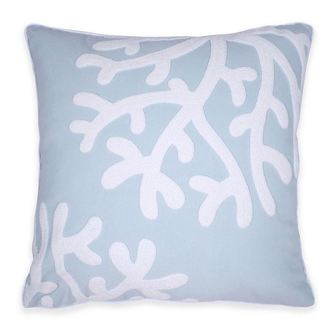 Alternate image 1 for Embroidered Coral Square Throw Pillow in Blue/White