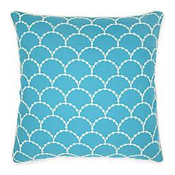 Embroidered Fans Square Throw Pillow in Blue and White