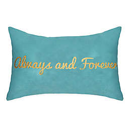 """Edie @ Home """"Always and Forever"""" Oblong Throw Pillow in Mineral Blue"""