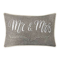 """Edie @ Home """"Mr. & Mrs."""" Oblong Throw Pillow in Grey"""